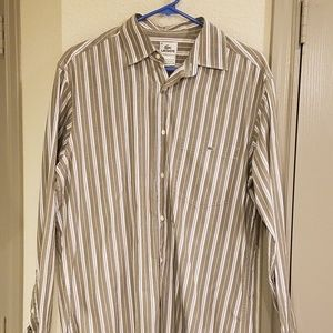 Lacoste Shirts - Lacoste Mens Vertical Striped Button Down Shirt